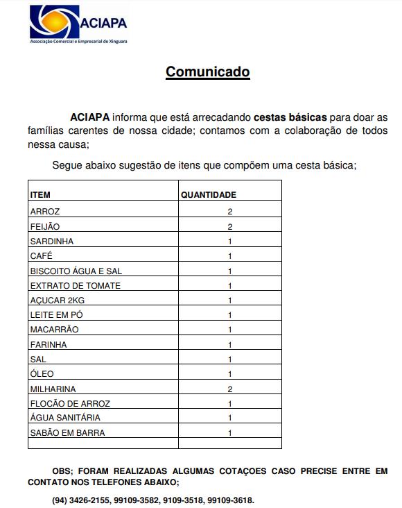 Comunicado – 31/03/2020