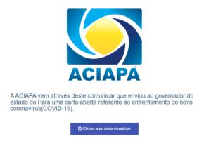 ACIAPA Xinguara Envia Carta Aberta ao Governador do Estado do Pará